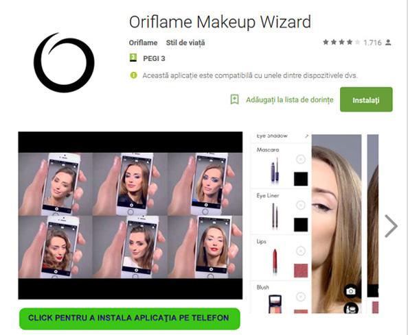 Aplicatie Oriflame machiaj mobil